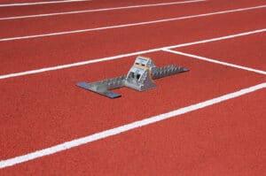 Athletics Starting Blocks On Race Track