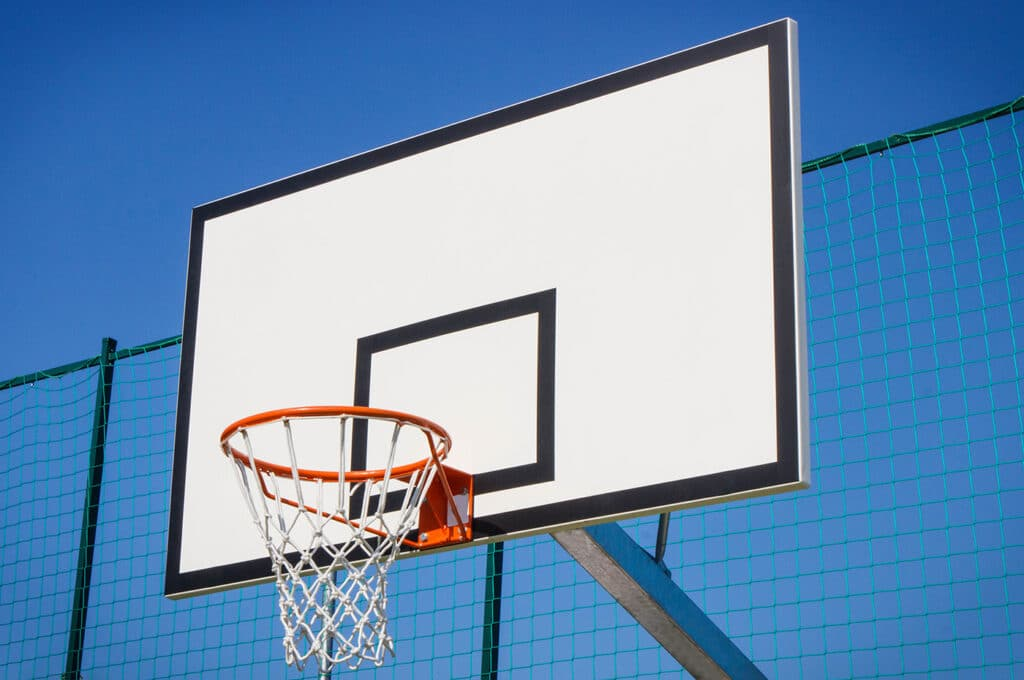 Basketball Board With Basket Hoop On Playground. Sport, Recreation And Healthy Lifestyles On Fresh Air